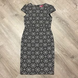 Betsey Johnson Black Floral Midi Dress Size 8
